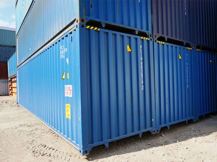 Blue stacked new 40ft high cube container Brisbane