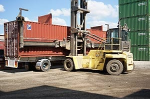 Container offloaded by Forklift - Gateway