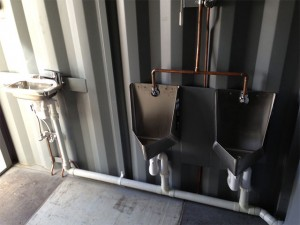 Mobile urinal toilet & portable bathroom using a container
