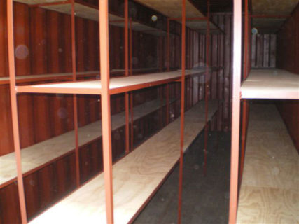 Secure document storage shelving red