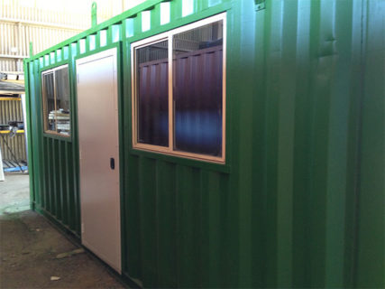 Shipping container portable office Door & Window