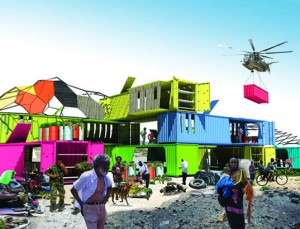 Image of shipping containers being used after the Haiti earthquake