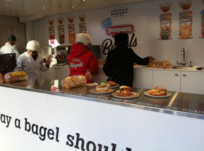 Image showing a giant toaster made from shipping container promoting bagels
