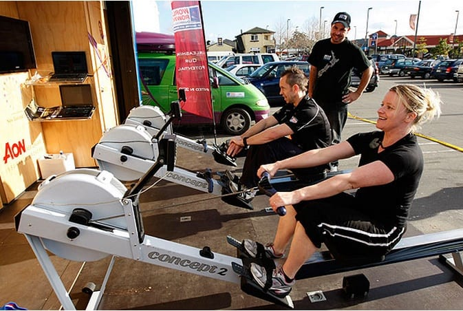Image of rowing machines being promoted using a shipping container