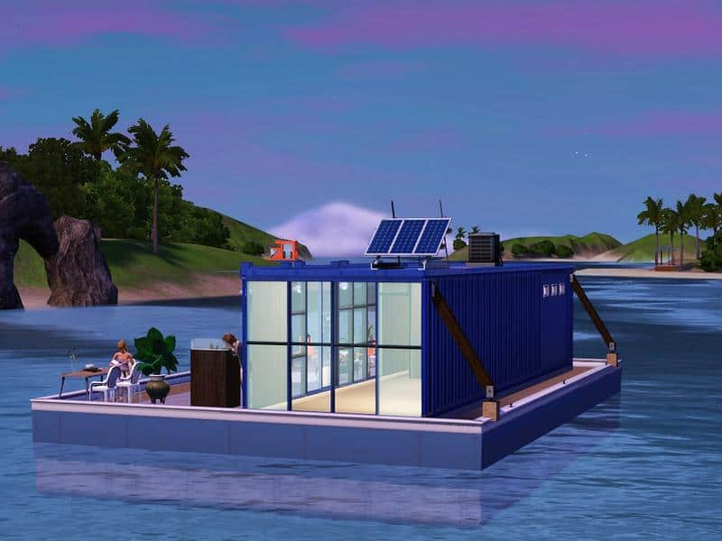 Concept of shipping container houseboat for Sim City