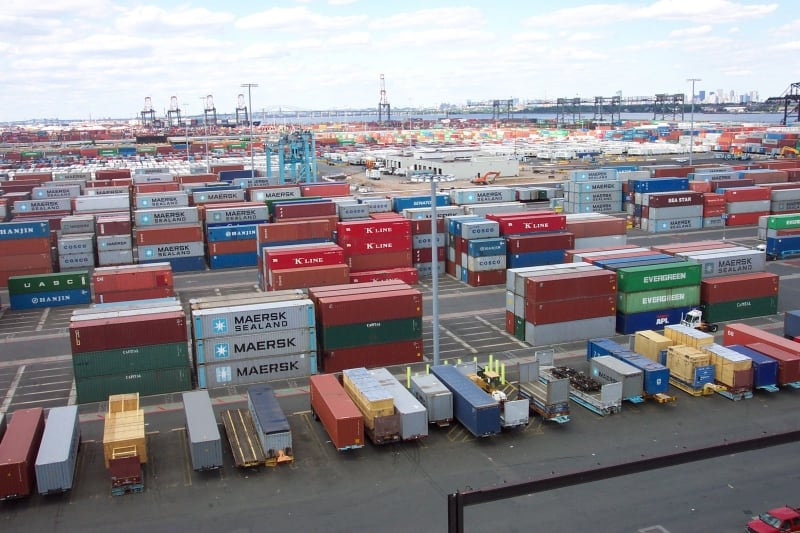 Shipping containers at Port Elizabeth terminal, New Jersey, USA