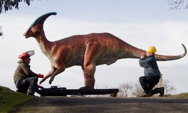 Dinosaurs moved in shipping containers
