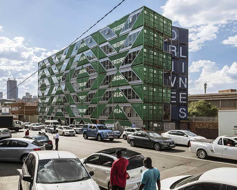 Drivelines Studios 7 Storey Shipping Container Complex in Johannesburg